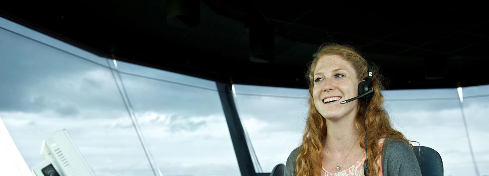 Smiling air traffic controller